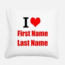 I Love Square Canvas Pillow