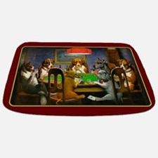 Poker Dogs Friend (red Border) Bathmat