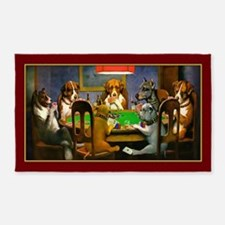Poker Dogs Friend (red Border) 3'x5' Area Rug