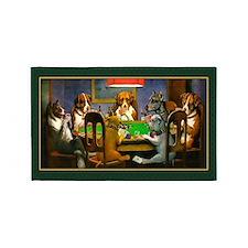 Poker Dogs Friend (green Border) 3'x5' Area Rug