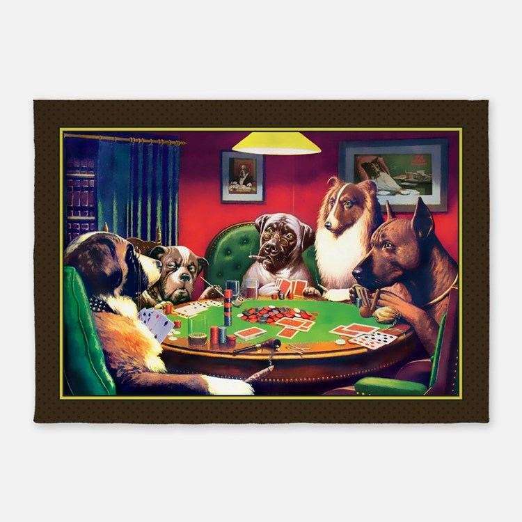 Poker Dogs Bluff (brown Border) 5'x7'area Rug