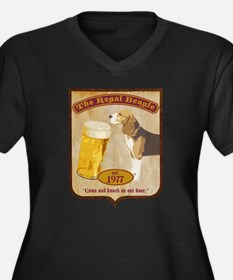 Regal Beagle Women's Plus Size V-Neck Dark T-Shirt