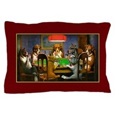 Poker Dogs Friend (red Border) Pillow Case