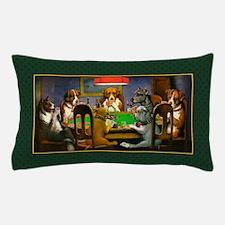 Poker Dogs Friend (green Border) Pillow Case