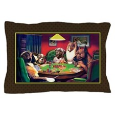 Poker Dogs Bluff (brown Border)pillow Case