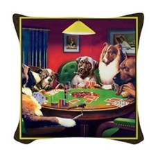 Poker Dogs Bluff (brown) Woven Throw Pillow