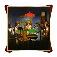 Poker Dogs Friend (red) Woven Throw Pillow