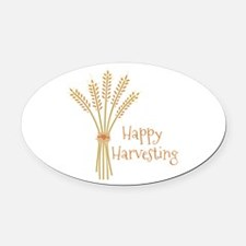 Happy Harvesting Oval Car Magnet