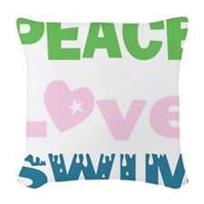 peace.love.swim Woven Throw Pillow
