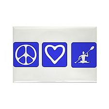 Peace Love Kayaking Rectangle Magnet (10 pack)