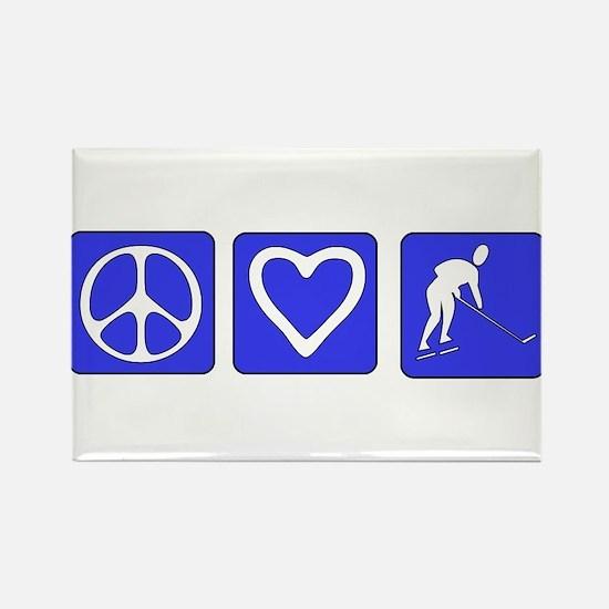Peace Love Hockey Rectangle Magnet