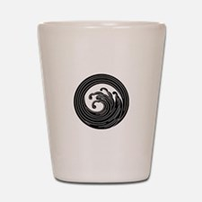 Swirl-like wave circle Shot Glass