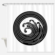Swirl-like wave circle Shower Curtain