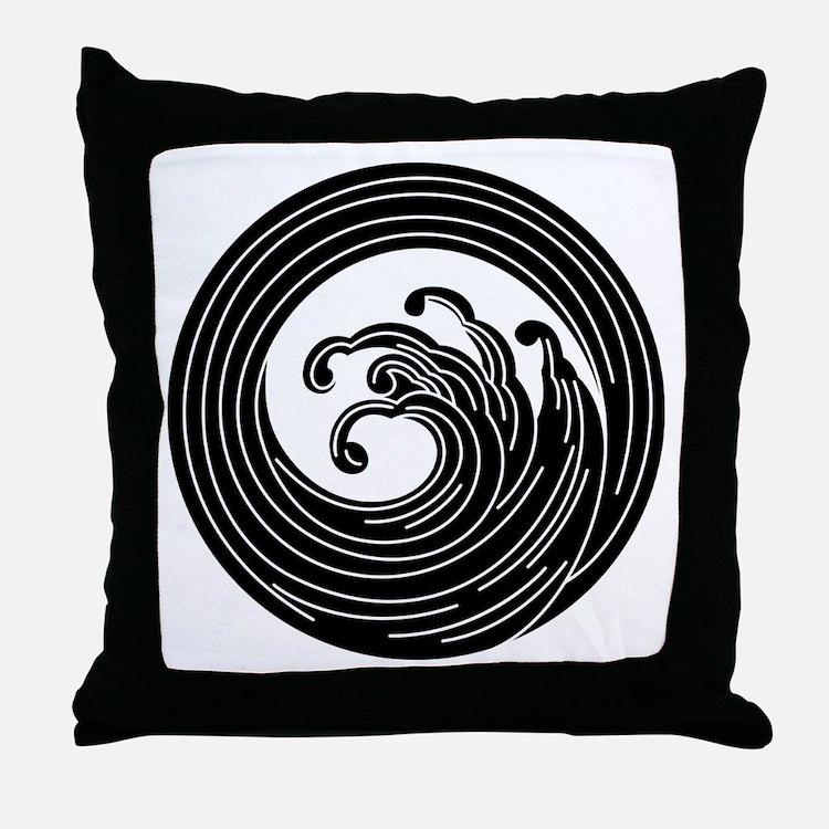 Swirl-like wave circle Throw Pillow