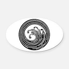 Swirl-like wave circle Oval Car Magnet