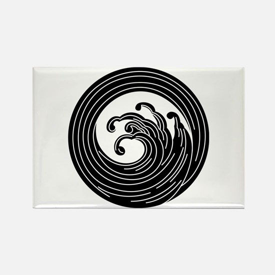 Swirl-like wave circle Rectangle Magnet