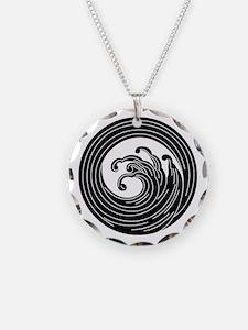 Swirl-like wave circle Necklace
