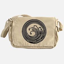 Swirl-like wave circle Messenger Bag