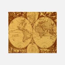 Exquisite Antique Atlas Map Throw Blanket