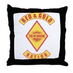 Red and gold support Mexican Throw Pillow