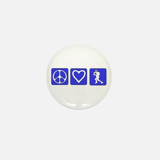 Peace Love Football Mini Button