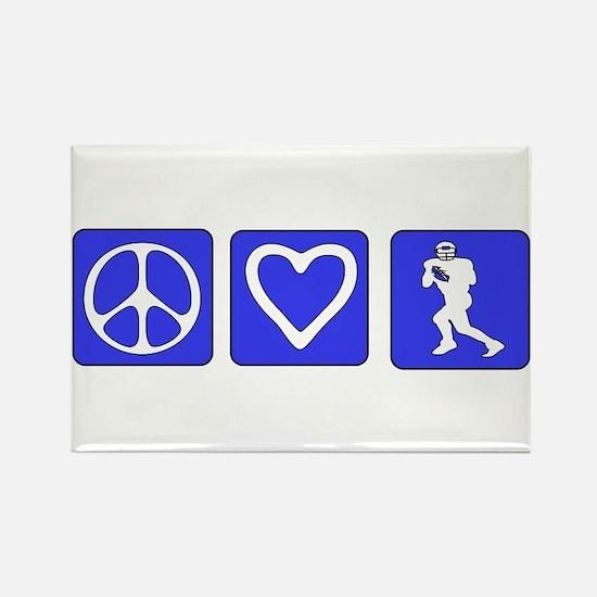 Peace Love Football Rectangle Magnet