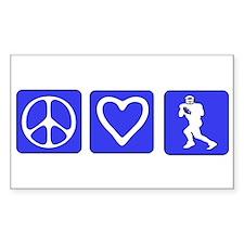 Peace Love Football Rectangle Decal