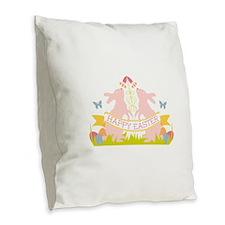 Happy Easter Burlap Throw Pillow