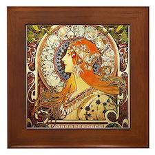 Alphonse Mucha La Plume Zodiac Framed Tile