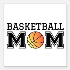 "Basketball mom Square Car Magnet 3"" x 3"""
