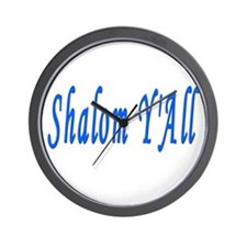Jewish Shalom Y'ALL Wall Clock
