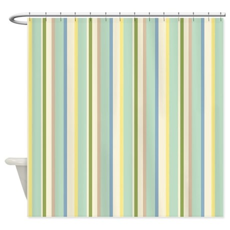 Green Stripes Shower Curtain By Gardenofdelights