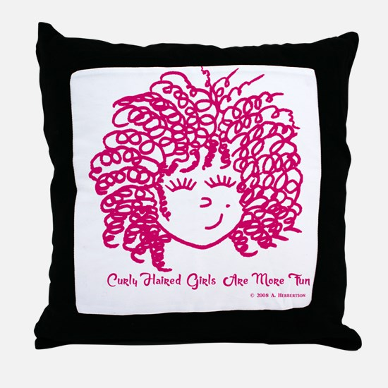 Curly haired girls Are More Fun Throw Pillow
