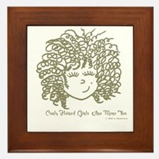 Curly haired girls Are More Fun Framed Tile