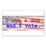 I Own A Dog Rectangle Sticker