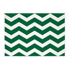 Green And White Chevron 5'x7'Area Rug
