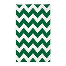Green And White Chevron 3'x5' Area Rug
