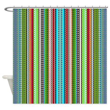 Green Ethnic Chevron Tribal Pattern Shower Curtain By Bimbyspersonalizedgifts