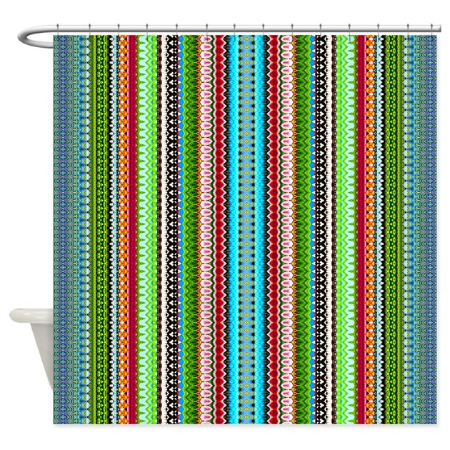 Green Ethnic Chevron Tribal Pattern Shower Curtain By