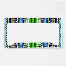 Blue Green Aztec Tribal Patte License Plate Holder