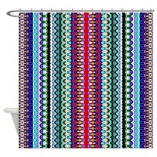 Purple Red Mint Tribal Pattern Shower Curtain