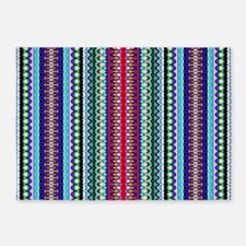 Purple Red Mint Tribal Pattern 5'x7'Area Rug