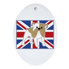 English Bulldog Flag Ornament (Oval)