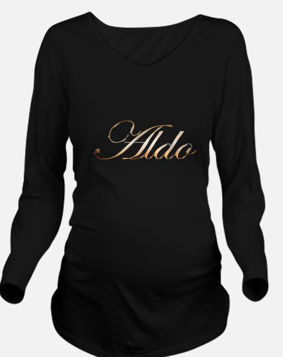 Aldo in Gold Long Sleeve Maternity T-Shirt