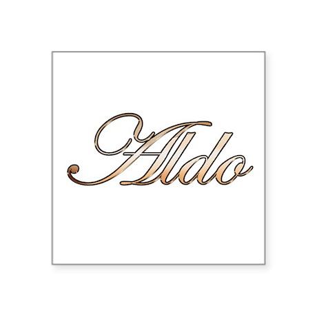 """Aldo in Gold Square Sticker 3"""" x 3"""""""
