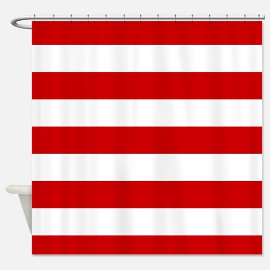 Red And White Stripes Shower Curtain