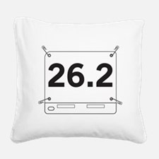 26.2 Running Shirt Tag Square Canvas Pillow