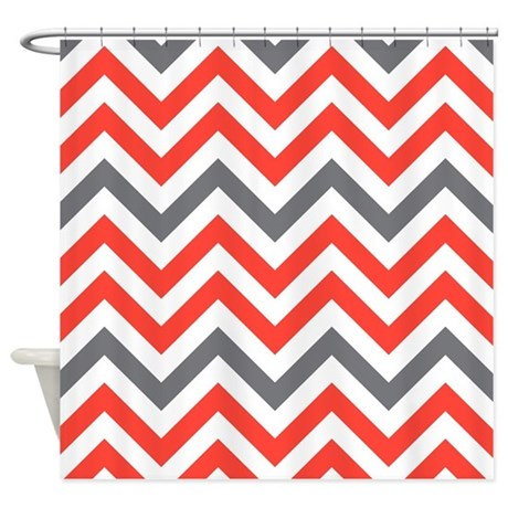 Red And Gray Chevrons Shower Curtain By FamilyFunShoppe