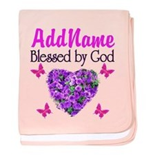 BLESSED BY GOD baby blanket