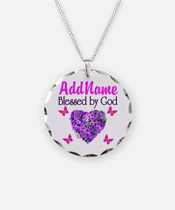 BLESSED BY GOD Necklace Circle Charm